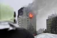 An apartment building damaged by a gas explosion is seen in Presov