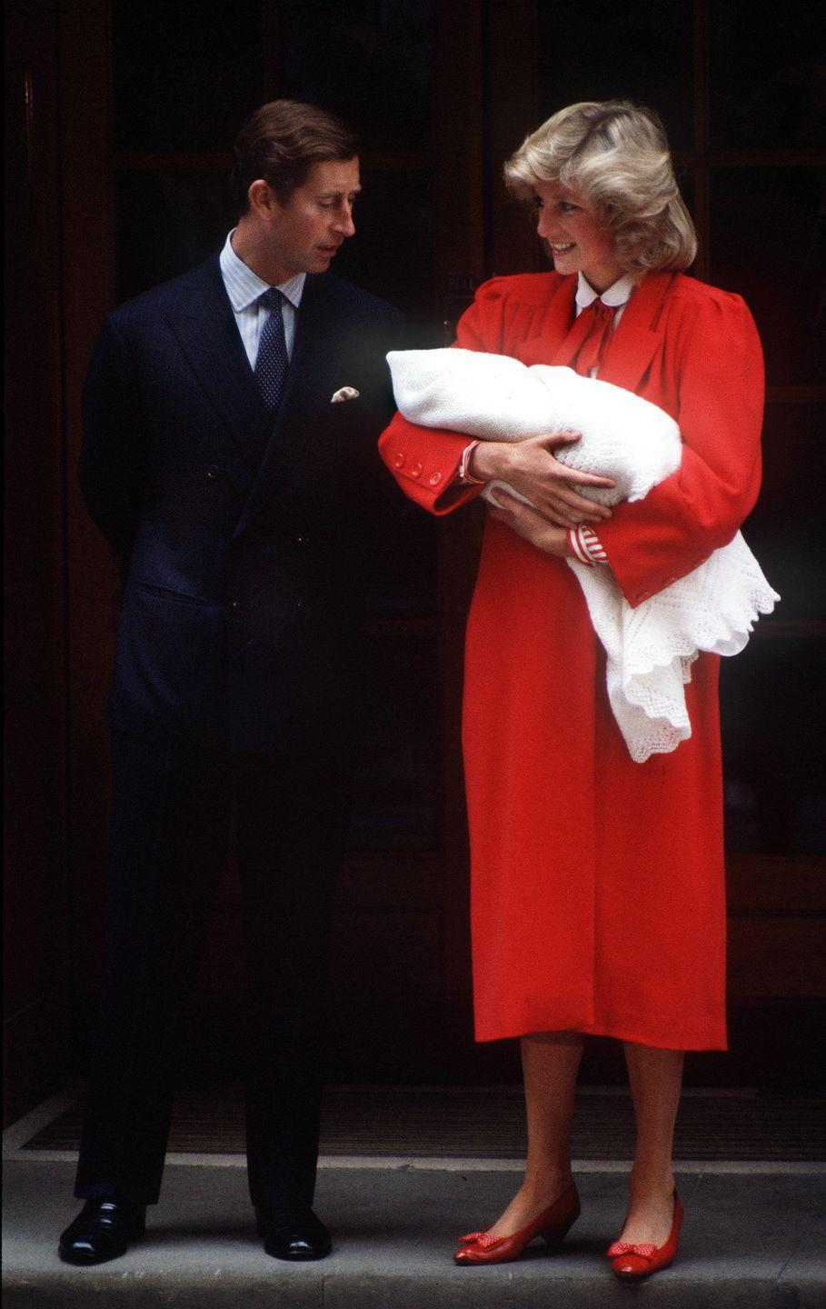 """<p>Prince Harry arrived a week early and was born at 4:20 p.m. on September 15, 1984 in the Lindo Wing of St. Mary's Hospital, just like his older brother. Diana read a book for the first six hours of her <a href=""""http://people.com/archive/cover-story-hello-harry-vol-22-no-14/"""" rel=""""nofollow noopener"""" target=""""_blank"""" data-ylk=""""slk:nine-hour labor"""" class=""""link rapid-noclick-resp"""">nine-hour labor</a>, and Charles napped in a chair next to the bed. When the big moment came Diana """"sucked on an ice cube to prevent dehydration during the delivery, while a nurse rubbed her chapped lips with cream,"""" <em>People</em> reports.</p><p><em>Left</em>: Princess Diana and Prince Charles leave the Lindo Wing of St. Mary's Hospital with Prince Harry in September 1984. </p>"""