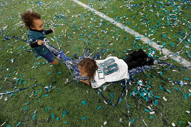 <p>Children of Philadelphia Eagles' Will Beatty celebrate after winning Super Bowl LII REUTERS/Kevin Lamarque </p>