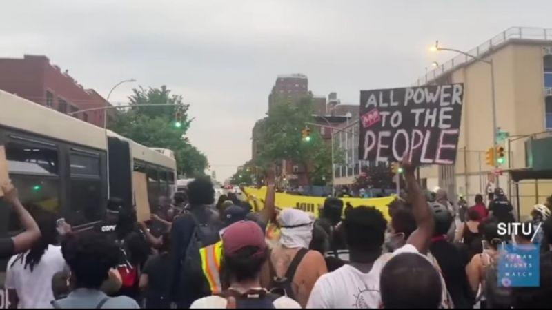 Hundreds of protesters march through the streets of Mott Haven, a lower-income neighborhood in the South Bronx in a demonstration against police violence on Jun 4, 2020.