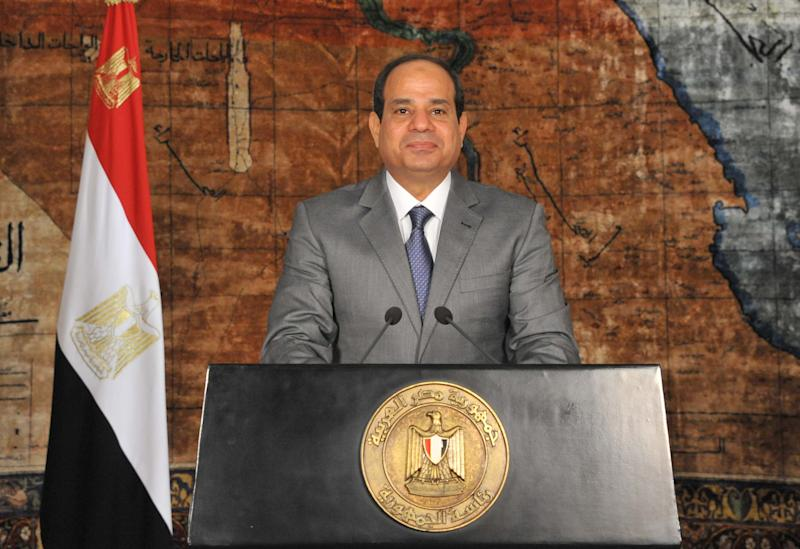 A handout picture released by the Egyptian Presidency on July 7, 2014 shows Egypt's President Abdel Fattah al-Sisi giving a speech in Cairo