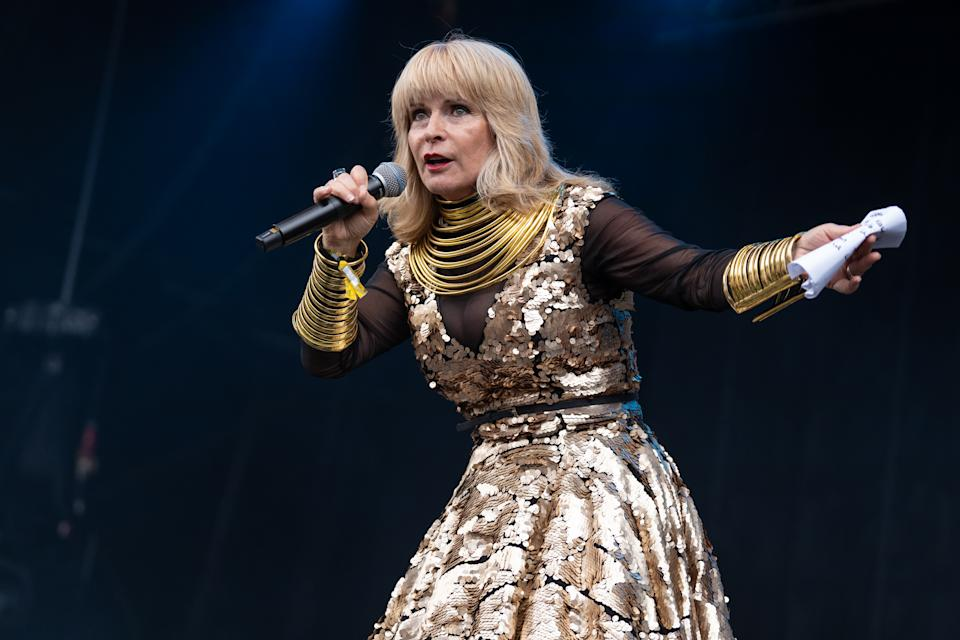 Toyah Willcox introduces Big Country during Rewind Scotland 2019 at Scone Palace on July 21, 2019 in Perth, Scotland. (Photo by Lorne Thomson/Redferns)
