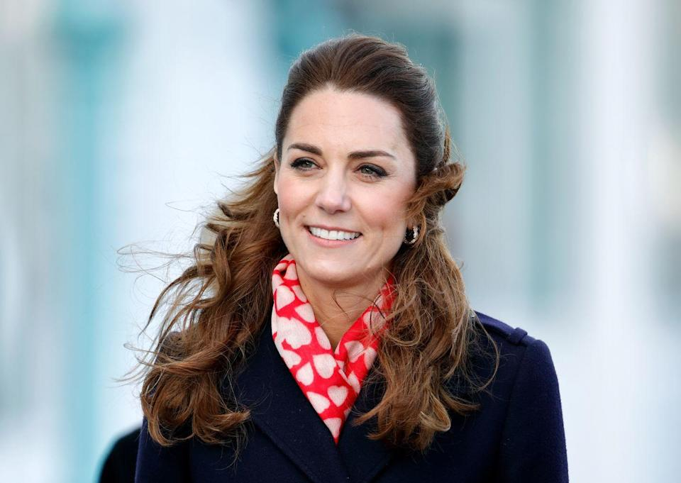 <p>As Valentine's Day neared, Kate, ever on theme, bundled up in a red and pink heart print scarf on a visit to Wales. </p>