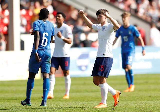 Soccer Football - UEFA European Under-17 Championship - Group A - England v Italy - The Banks's Stadium, Walsall, Britain - May 7, 2018 England's Bobby Duncan celebrates after the match Action Images via Reuters/Andrew Boyers