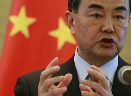 Chinese Foreign Minister Wang Yi speaks at a joint news conference with Australian Foreign Minister Julie Bishop at the Ministry of Foreign Affairs in Beijing