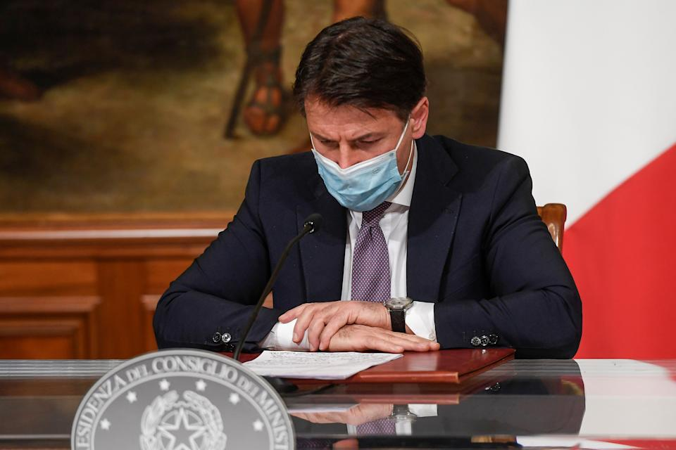 "ROME, ITALY - OCTOBER 27: Italian Prime Minister Giuseppe Conte holds a press conference to present the ""Decreto ristori"" at Palazzo Chigi, on October 28, 2020, in Rome, Italy. The ""Decreto Ristori"" was approved by the Italian Council of Ministers with the aim of combating the coronavirus (COVID-19) pandemic. (Photo by Augusto Casasoli - Pool/Getty Images) (Photo: Antonio Masiello via Getty Images)"