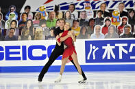 Alexa Scimeca Knierim and Brandon Frazier of the United States, compete during the pairs short program in the International Skating Union Grand Prix of Figure Skating Series Friday, Oct. 23, 2020, in Las Vegas. (AP Photo/David Becker)