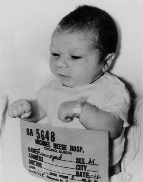 FILE - This April 26, 1964 file photo shows new-born Paul Joseph Fronczak shortly after his birth at Michael Reese Hospital in Chicago. The baby was taken from his mother's arms by a woman dressed as a nurse who told her he needed a medical exam and then never returned him to the nursery. (AP Photo, File)