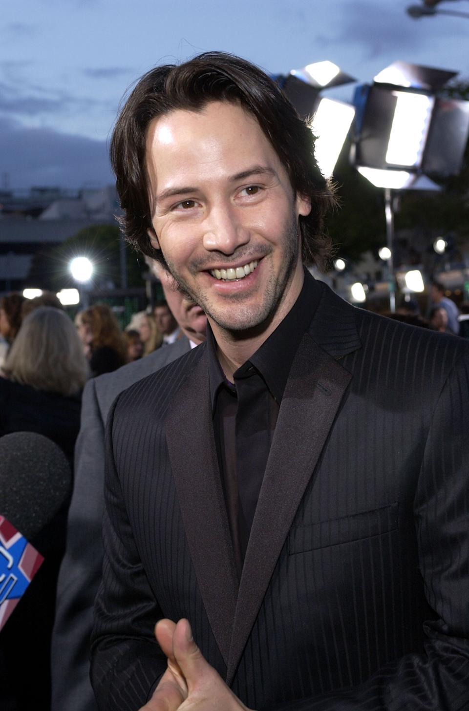 """Reeves during """"The Matrix Reloaded"""" premiere in Westwood, California."""