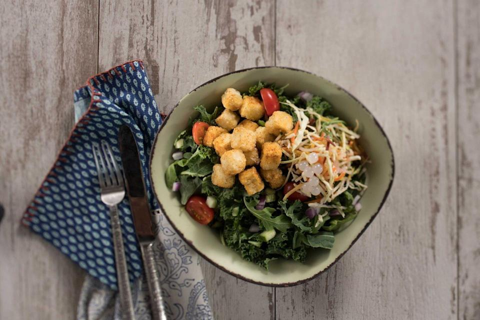 <p>Disney finds ways to incorporate boba balls into ordinary meals, and The Chili-Spiced Crispy Fried Tofu Bowl is no exception. This dish, found at Satu'li Canteen, is filled with a satisfying crunch that you can enjoy while exploring the world of Pandora in Animal Kingdom. </p>