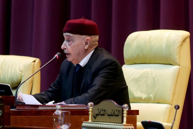 FILE PHOTO: Parliament head Aguila Saleh attends a session to discuss approving new government, in Sirte