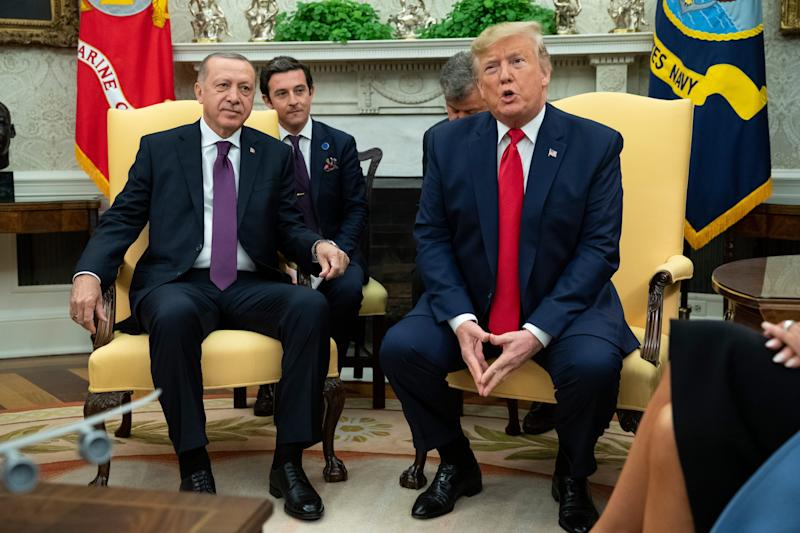 President Donald Trump meets with Turkish President Recep Tayyip Erdogan in the Oval Office of the White House, Wednesday, Nov. 13, 2019, in Washington.