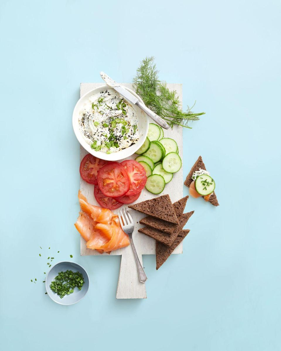 "<p>Set out this spiced spread with pumpernickel bread, cucumbers and smoked salmon, then watch it disappear.</p><p><em><a href=""https://www.goodhousekeeping.com/food-recipes/easy/a25657599/everything-bagel-dip-recipe/"" rel=""nofollow noopener"" target=""_blank"" data-ylk=""slk:Get the recipe for Everything Bagel Dip »"" class=""link rapid-noclick-resp"">Get the recipe for Everything Bagel Dip »</a></em> </p>"