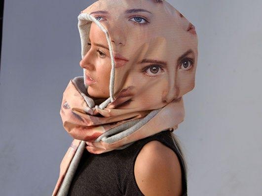 dazzle headscarf designed to trick facial recognition