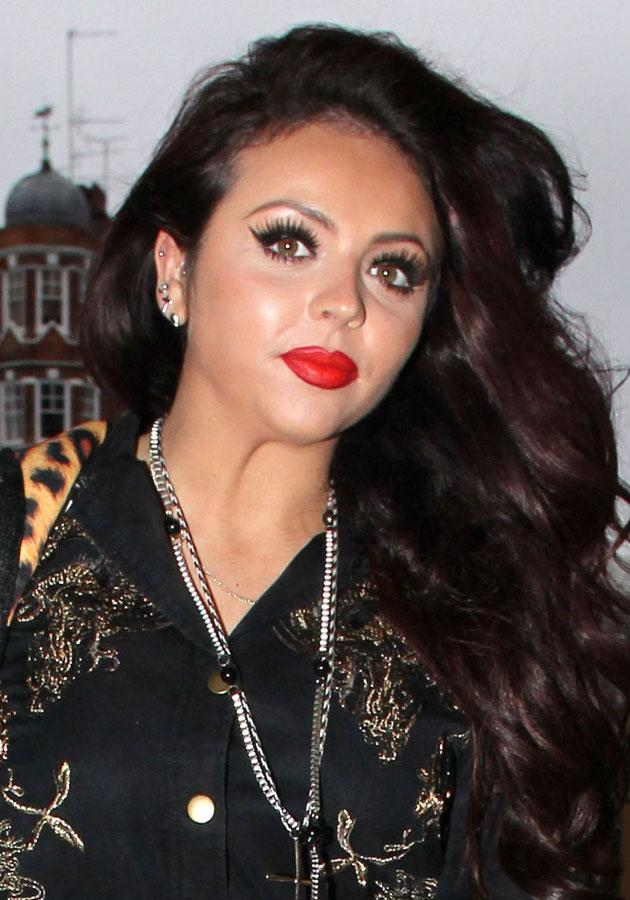 Celebrities wearing red lipstick: Jesy Nelson wore a shiny red lipstick with matching lip liner in London.<br><br>[Rex]