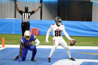 Atlanta Falcons wide receiver Laquon Treadwell, right, scores a touchdown past Los Angeles Chargers outside linebacker Kenneth Murray Jr. during the first half of an NFL football game Sunday, Dec. 13, 2020, in Inglewood, Calif. (AP Photo/Ashley Landis)