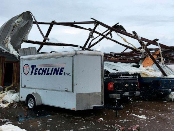 PHOTO: This photo shows some damage by a tornado in Alexandria, La., Dec. 16, 2019, after storms went through the area. (Brad Kemp/AP)