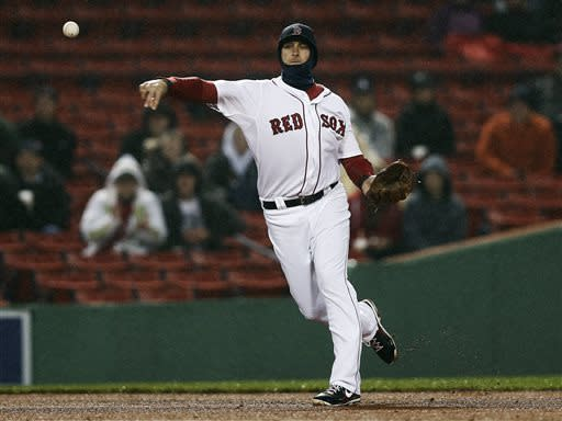 Boston Red Sox third baseman Will Middlebrooks makes a throwing error on a ground ball by Oakland Athletics' Chris Young during the third inning of a baseball game at Fenway Park in Boston Tuesday, April 23, 2013. (AP Photo/Winslow Townson)