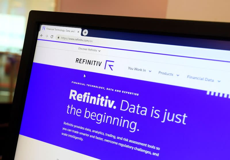FILE PHOTO: The Refinitiv logo is seen on a web page of a computer screen at offices in London