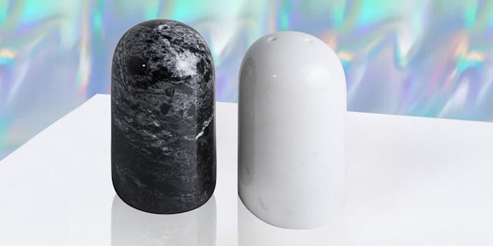 """<div class=""""caption""""> These black and white marbled salt and pepper shakers bring an effortless elegance not usually associated with condiments. <br> <a href=""""https://www.1stdibs.com/furniture/dining-entertaining/more-dining-entertaining/black-white-rounded-salt-pepper-set/id-f_12840462/"""" rel=""""nofollow noopener"""" target=""""_blank"""" data-ylk=""""slk:SHOP NOW"""" class=""""link rapid-noclick-resp"""">SHOP NOW</a>: Rounded marble salt and pepper set by Fiammetta V., $57, 1stdibs.com<br> </div> <cite class=""""credit"""">Photo courtesy of 1stDibs</cite>"""