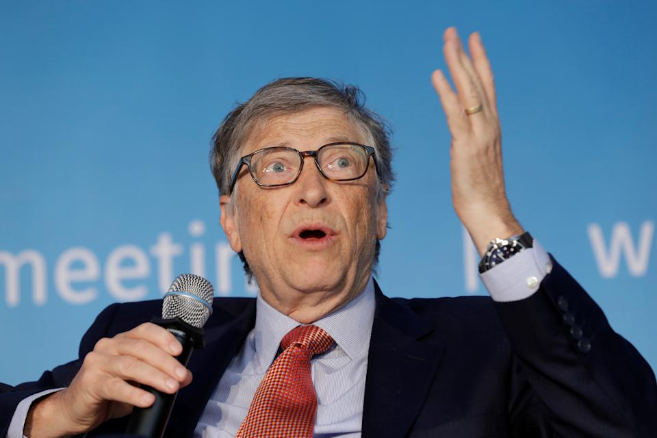 Bill Gates speaks at a panel discussion on Building Human Capital during the IMF/World Bank spring meeting in Washington.