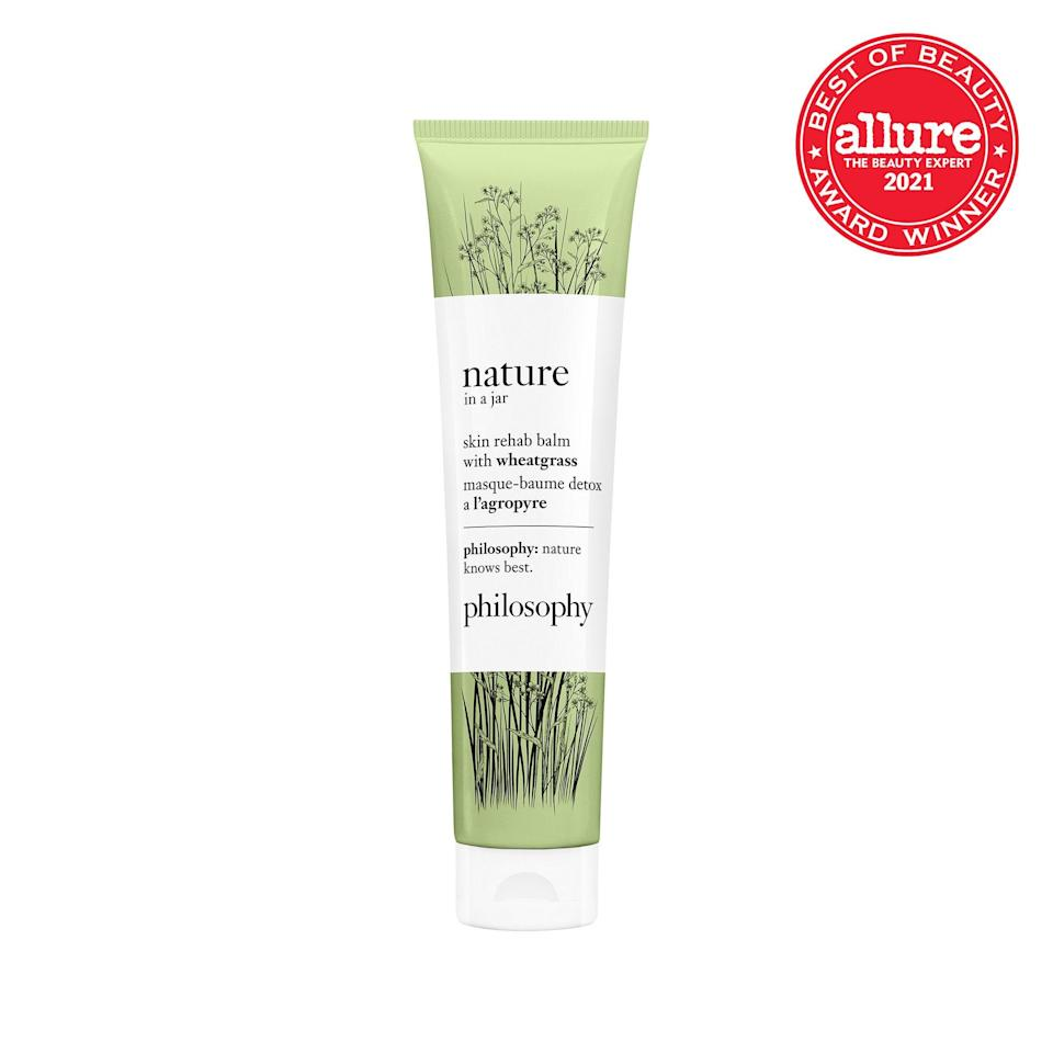 """<strong>Philosophy Nature In a Jar Skin Rehab Balm with Wheatgrass</strong> does not, in fact, come in a jar. But the salve (in a tube) does contain a vegetable patch of nourishing greens, plus <a href=""""https://www.allure.com/story/what-is-glycerin-skin-care-ingredient?mbid=synd_yahoo_rss"""" rel=""""nofollow noopener"""" target=""""_blank"""" data-ylk=""""slk:coddling glycerin"""" class=""""link rapid-noclick-resp"""">coddling glycerin</a>."""