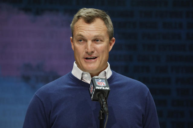 FILE - In this Feb. 25, 2020, file photo, San Francisco 49ers general manager John Lynch speaks during a press conference at the NFL football scouting combine in Indianapolis. The NFL Draft is April 23-25. (AP Photo/Charlie Neibergall, File)