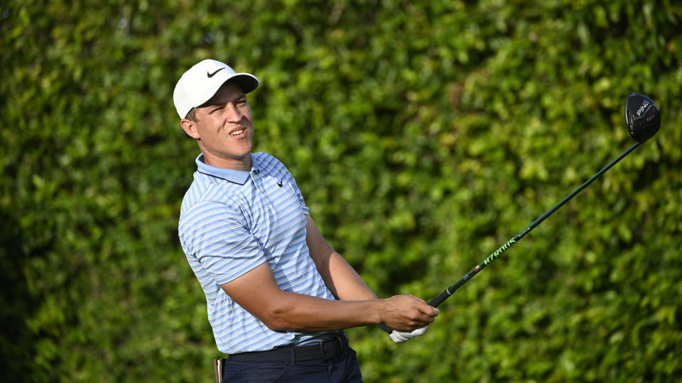 Cameron Champ watches his tee shot on the ninth hole during the first round of the Arnold Palmer Invitational golf tournament, Thursday, March 5, 2020, in Orlando, Fla. (AP Photo/Phelan M. Ebenhack)