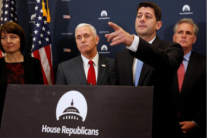 U.S. Vice President-elect Mike Pence (2nd L) joins House Republicans, including Representative Cathy McMorris Rodgers (R-WA) (L), Speaker Paul Ryan (R-WI) (2nd R) and House Majority Leader Kevin McCarthy (R-CA) (R), to speak to reporters after meeting with the Republican House caucus at the U.S. Capitol in Washington, U.S. January 4, 2017. REUTERS/Jonathan Ernst