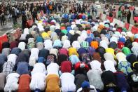 Muslim demonstrators observe jumat service amid protests against police brutality in Lagos