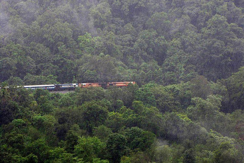 The leading locos of Vasco Express are seen across the valley as they pull slowly into Sonalium.