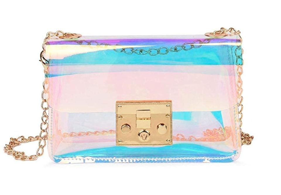 <p>Purses nowadays are so . . . adult. Take it back a few years with this <span>Hologram Purse</span> ($20). </p>