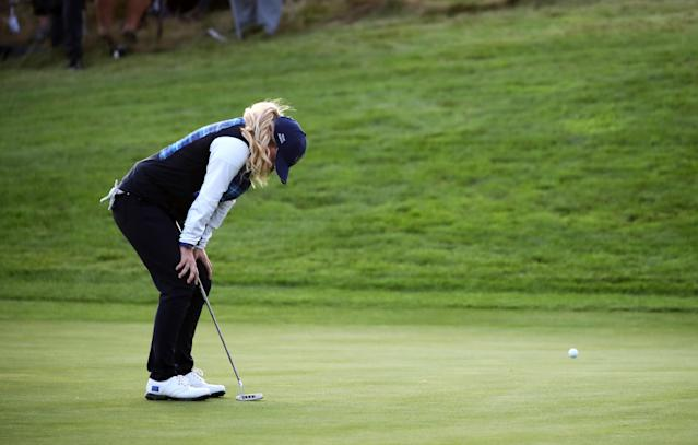 Team Europe's Bronte Law reacts after narrowly missing a putt to win her fourball match at the Solheim Cup