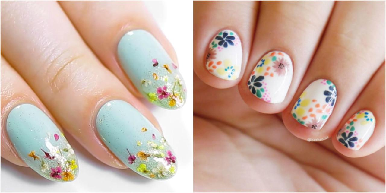 "<p>Because everybody loves flowers, these gorgeous <a rel=""nofollow"" href=""http://www.goodhousekeeping.com/beauty/nails/"">nail art designs</a> are perennial. Whether done freehand with a brush or with the help of stamps, a floral effect is surprisingly easy - and always lovely.</p>"
