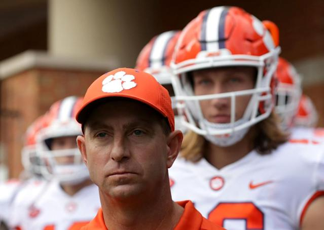 """<span class=""""element-image__caption"""">Swinney did not invent Christianity as a tool to recruit talented high school players to join his program, he's just the most successful at deploying it.</span> <span class=""""element-image__credit"""">Photograph: Streeter Lecka/Getty Images</span>"""
