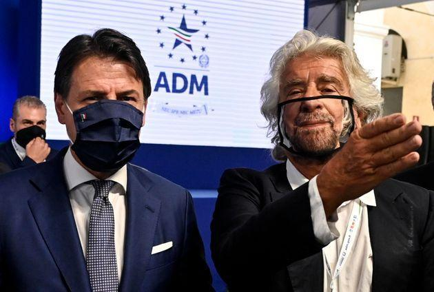Prime minister Giuseppe Conte (L) with Beppe Grillo (R) during the presentation of the 2019 Blue Book at the Customs and Monopolies Agency, Rome, Italy, 11 September 2020. ANSA/RICCARDO ANTIMIANI (Photo: Riccardo AntimianiANSA)