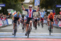 File-This Sept. 27, 2019, file photo shows United States' Megan Jastrab celebrating winning the women junior event at the road cycling World Championships in Harrogate, England. The cycling team that the U.S. is taking to the Tokyo Olympics is a little bit different than the one it would have taken a year ago, when the COVID-19 pandemic forced organizers to postpone the Summer Games by an entire year. Among those on the team announced Thursday, June 10, 2021, are mountain biker Haley Batten, who's been on the podium each of the first two World Cup races of the season; Jastrab, the 19-year-old track cycling prodigy who will be part of the gold medal-favorite women's pursuit team and also contest the Madison; and 23-year-old time trial star Brandon McNulty. (AP Photo/Manu Fernandez, File)