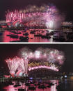 An image combo showing Fireworks exploding over the Sydney Opera House and Harbour Bridge during New Year celebrations in Sydney, Australia, the top photo taken on Friday, Jan. 1, 2021 and the bottom one on Thursday, Jan. 1, 2015. From a distance things looked the same, but one million people would usually crowd the Sydney Harbor to watch the annual fireworks that center on the Sydney Harbour Bridge. But this year authorities advised revelers to watch the fireworks on television as the two most populous states, New South Wales and Victoria battle to curb new COVID-19 outbreaks. (AP Photo/Mark Baker, Rob Griffith)