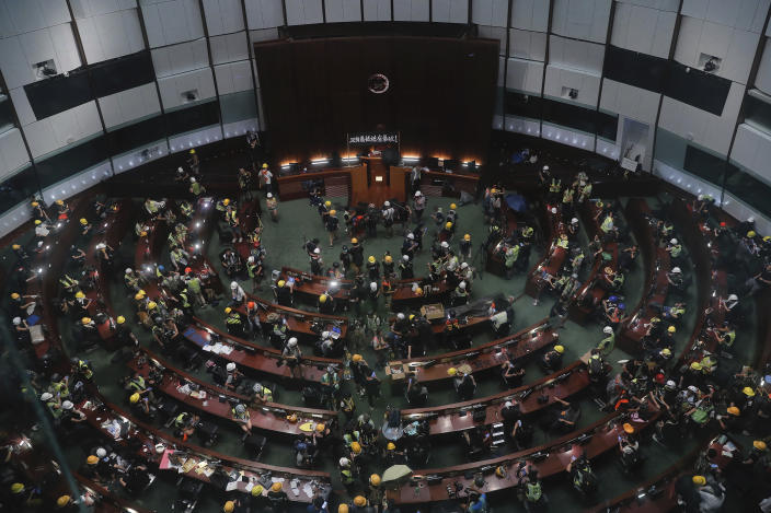 Protesters gather inside the meeting hall of the Legislative Council in Hong Kong, Monday, July 1, 2019. (Photo: Kin Cheung/AP)
