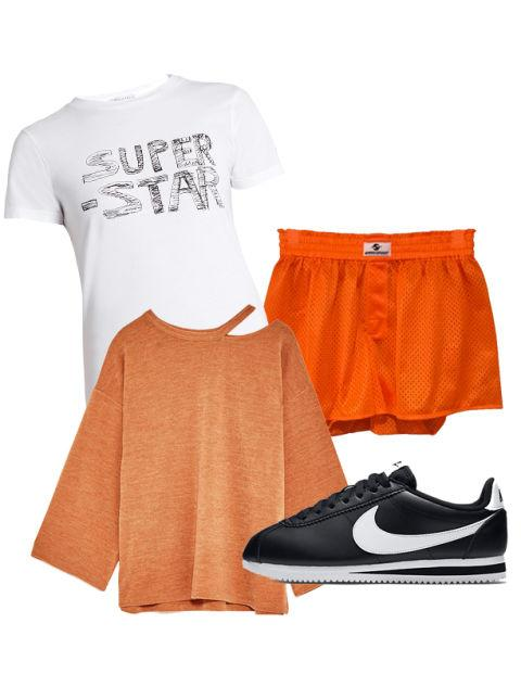 """<p>Pull off an athletic look without breaking a sweat by pairing swishy mesh shorts with a graphic tee and a cut-out sweater. Just kick off those retro Nike Cortez sneakers when it's time to get under the covers. <span></span></p><p>Mesh Orange Boxers, $66, <a rel=""""nofollow"""" href=""""https://gypsysportny.com/products/copy-of-power-hoodie-green""""><u>gypsysportny.com</u></a>; Super Star-Print Cotton-Jersey T-Shirt by Bella Freud, $98, <a rel=""""nofollow"""" href=""""http://www.matchesfashion.com/us/products/Bella-Freud-Super-Star-print-cotton-jersey-T-shirt-1096053""""><u>matchesfashion.com</u></a>; Cut-Out Sweater, $26, <a rel=""""nofollow"""" href=""""https://www.zara.com/us/en/woman/sweatshirts/cut-out-sweater-c364001p4235530.html""""><u>zara.com</u></a>; Classic Cortez Leather, $70, <a rel=""""nofollow"""" href=""""http://store.nike.com/us/en_us/pd/classic-cortez-leather-womens-shoe/pid-10962080/pgid-10343216""""><u>store.nike.com</u></a>.<span></span></p>"""