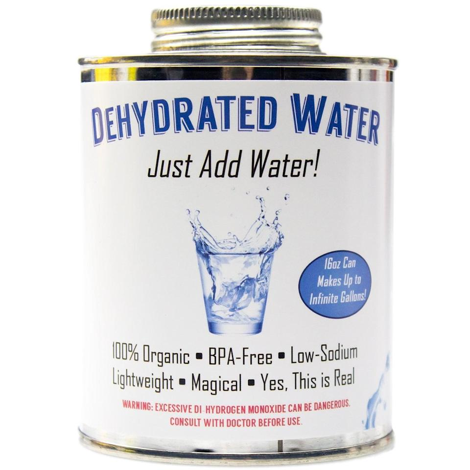 <p>You'd be surprised at how many people fall for this <span>Dehydrated Water</span> ($13). It's such a funny gag gift that will make them laugh so hard, they'll cry!</p>