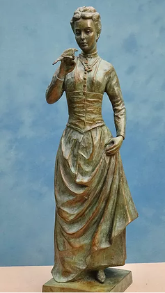A design for a statue featuring RSPB founder Emily Williamson holding a bird in her right hand.