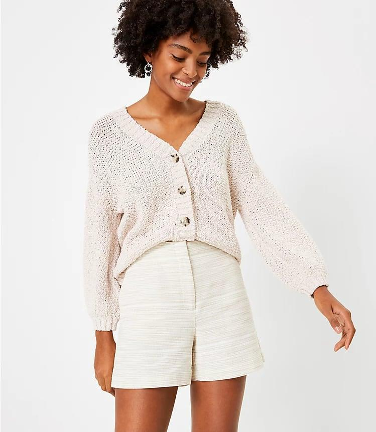 <p>Style this <span>LOFT Structured Shorts</span> ($50) with a cute cardigan.</p>