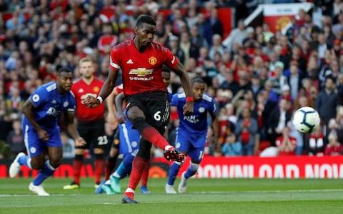 """Soccer Football - Premier League - Manchester United v Leicester City - Old Trafford, Manchester, Britain - August 10, 2018 Manchester United's Paul Pogba scores their first goal from the penalty spot REUTERS/Darren Staples EDITORIAL USE ONLY. No use with unauthorized audio, video, data, fixture lists, club/league logos or """"live"""" services. Online in-match use limited to 75 images, no video emulation. No use in betting, games or single club/league/player publications. Please contact your account representative for further details - Credit: REUTERS"""