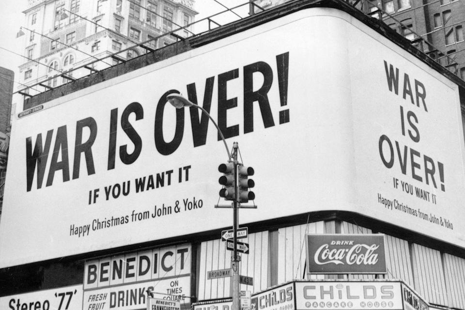 <p>A large Christmas peace message reads 'War Is Over !' from John Lennon and Yoko Ono on a billboard in New York City. The message, protesting against US involvement in the Vietnam War, was simultaneously displayed at Montreal, Toronto, Los Angeles and six European cities.</p>