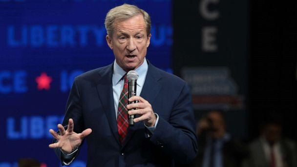 PHOTO: Democratic presidential candidate, philanthropist Tom Steyer speaks at the Liberty and Justice Celebration at the Wells Fargo Arena, Nov. 1, 2019, in Des Moines, Iowa. (Scott Olson/Getty Images)