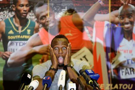 Jamaican sprinter Usain Bolt reacts during a news conference before the Ostrava Golden Spike athletics meeting in Ostrava, Czech Republic June 26, 2017.   REUTERS/David W Cerny