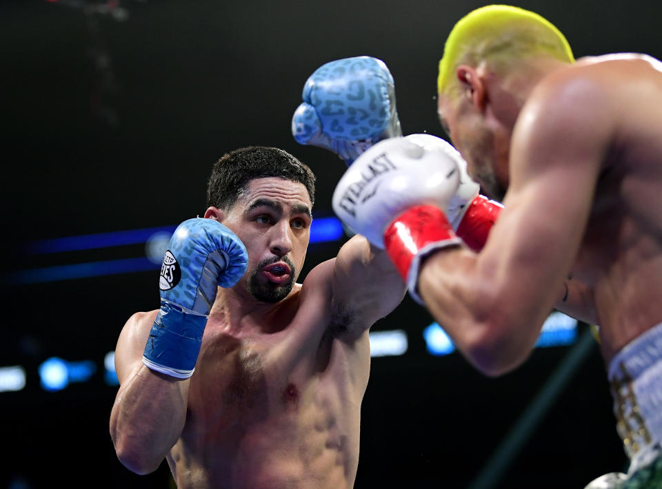 NEW YORK, NEW YORK - JANUARY 25:  Danny Garcia (L) punches Ivan Redkach during their WBC silver world welterweight title eliminator at Barclays Center on January 25, 2020 in New York City. (Photo by Steven Ryan/Getty Images)
