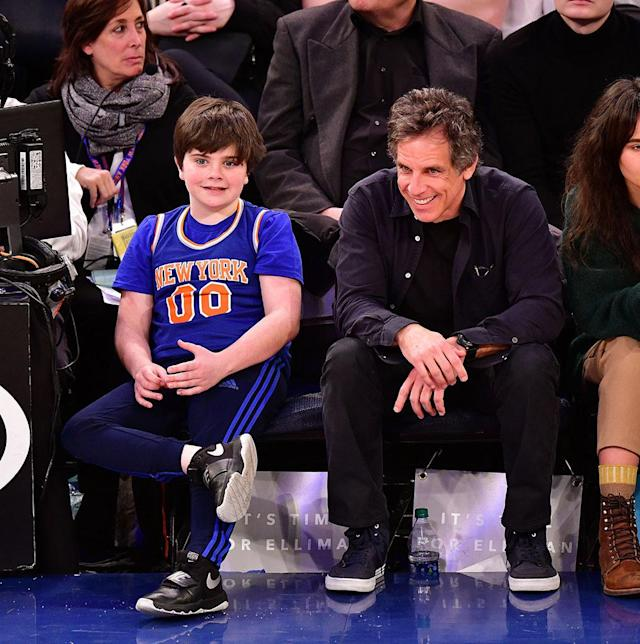 <p>The father-son duo began 2018 with courtside seats at the Knicks game in New York's Madison Square Garden Tuesday night. The Stillers watched as the home team fell to the San Antonio Spurs, 100-91. (Photo: James Devaney/Getty Images) </p>