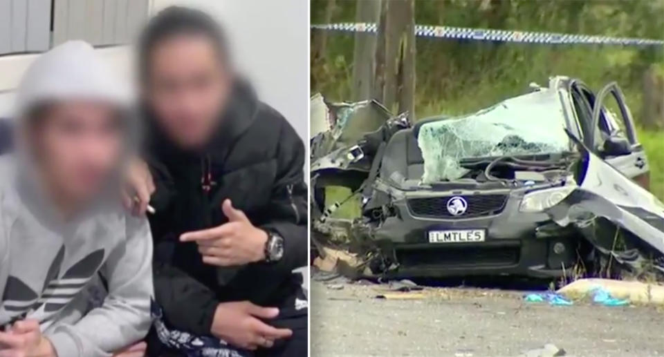 A smashed Holden Commodore SS in Abbotsbury, Sydney.